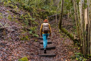 Unrecognizable traveler walking up steps in forest