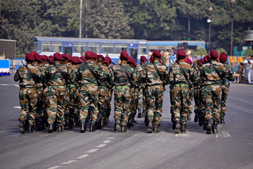 Calcutta, India - January 23, 2019: Indian army practice their parade during republic day. The ceremony is done by Indian army every year to salute national flag in 26th January