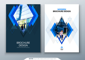 Brochure template layout design. Corporate business annual report, catalog, magazine, flyer mockup. Creative modern bright concept with rhombus shape