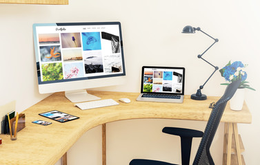 responsive devices on corner desktop online portfolio