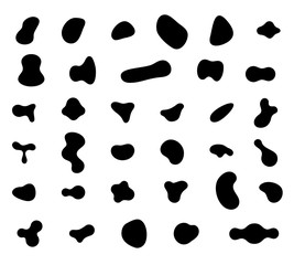 Set of abstract liquid forms and fluid shapes
