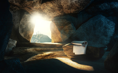 Tomb empty with shroud and crucifixion, 3d rendering