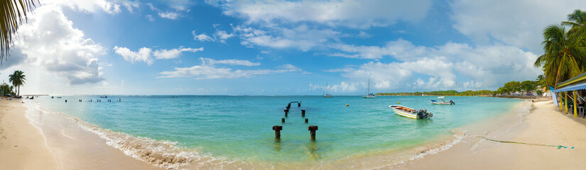 Saint Anne beach, Guadeloupe, French West Indies, panoramic view. Wall mural