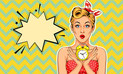 Beautiful pin up model with alarm clock vector illustration in pop art style