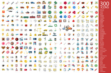 Digital vector 300 icons set