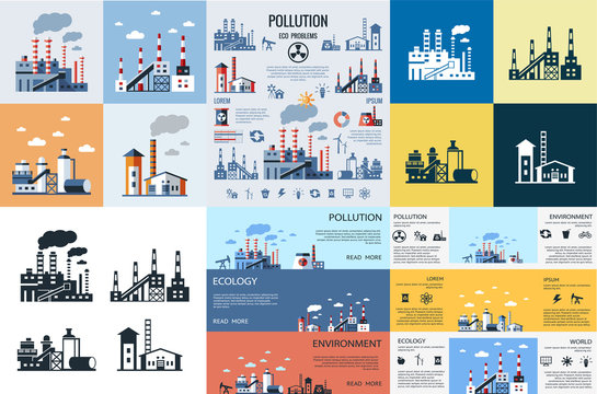 Digital vector blue factory pollution