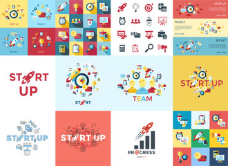 Digital vector red startup icons