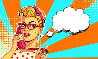 Beautiful women on telephone vector illustration in pop art style