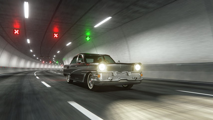 Oldstyle classic car rides through tunnel 3d rendering