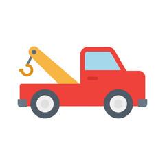 Tow truck. Emergency truck. White background. Vector illustration. EPS 10.
