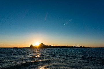 Bei Sonnenuntergang auf dem See