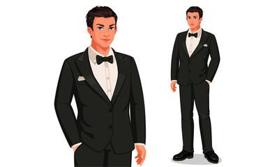 Groom in standing position vector illustration