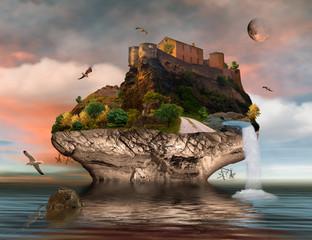 Fantasie Insel mit Festung auf dem Meer und Wasserfall