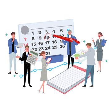 ビジネスコンセプト イラスト スケジュール 会議 プロフェッショナル