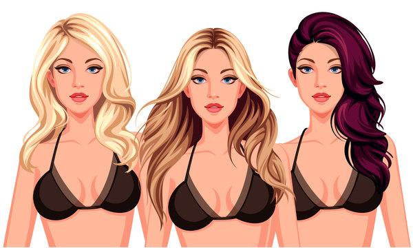 Set of three cool hairstyles wth beautiful stylish model
