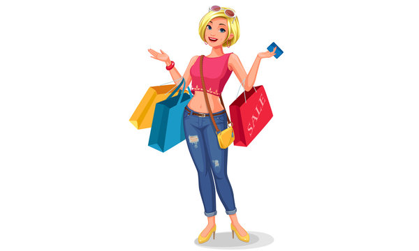 Shopping, happy women holding shopping bags and credit card