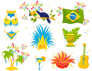Flat vector set of Brazilian icons. Festive attributes, samba costume, toucan, palm trees and musical instruments