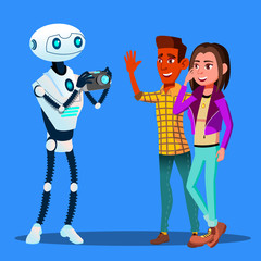 Robot Takes Pictures Of Young Happy Couple Man And Woman Vector. Isolated Illustration