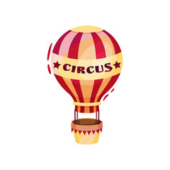 Flat vector icon of big air balloon with basket. Circus and amusement park theme