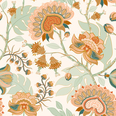 Fotobehang Botanisch Colorful Paisley pattern for textile, cover, wrapping paper, web. Ethnic vector wallpaper with decorative elements. Indian decorative backdrop. Vector illustration, batik indonesia