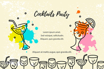 Vector illustration with drums and paint splashes. Template for party, drum school, invitation, poster, card, flyer, banner. Flat and line style.