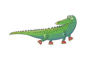 Green crocodile riding roller-skates. Humanized animal. Funny alligator. Cartoon vector design