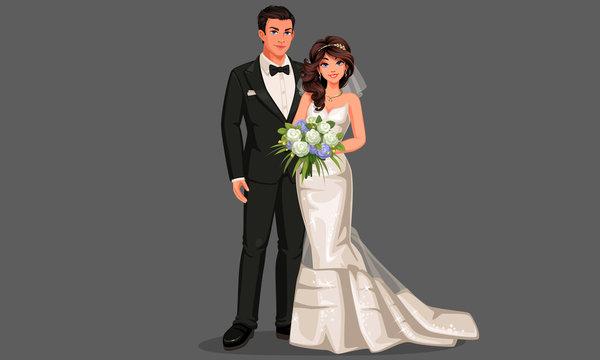 Vector illustration of beautiful wedding couple