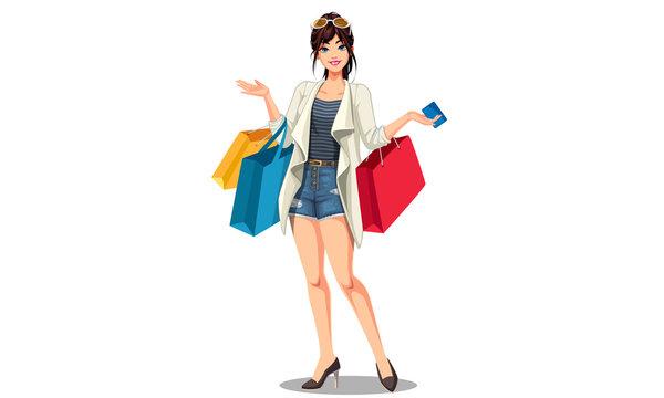 Young beautiful shopping women with shopping bags