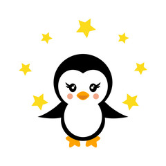 cartoon cute penguin with stars