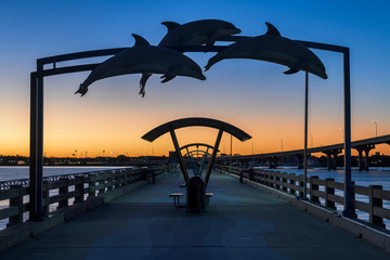 Wall Mural - Vilano Beach Fishing Pier at twilight in St. Augustine, Florida
