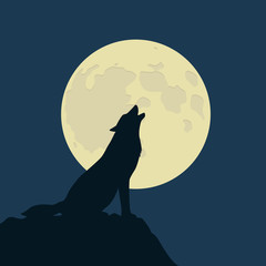 wolf howls at the full moon vector illustration EPS10