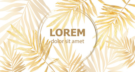 Golden Palm leaves card frame Vector watercolor. Tropic exotic texture. Gold shiny decors Wall mural
