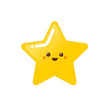 Cute happy golden star