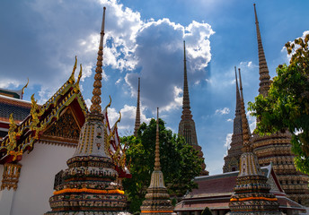 Old pagoda decorated with elaborate. Is large beautiful sharp tip in the sky. Is placed of religious and public place for general people either Thai and foreign visitors.