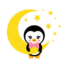 cartoon cute penguin with tie on the moon