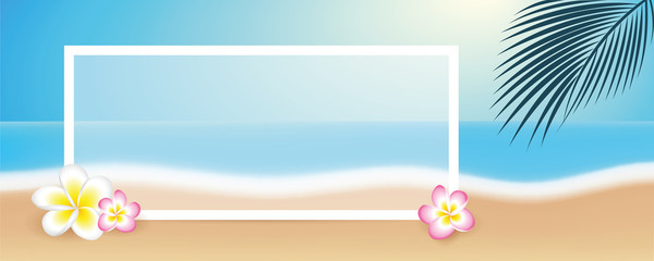 beautiful beach with frangipani tropical flowers palm leaf and white border vector illustration EPS10