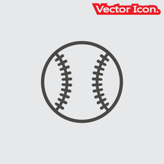 Baseball ball icon isolated sign symbol and flat style for app, web and digital design. Vector illustration.