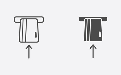 Card withdrawal filled and outline vector icon sign symbol