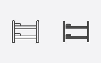 Bunk bed filled and outline vector icon sign symbol