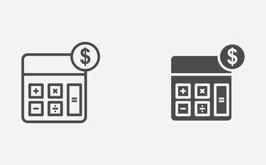 Calculator filled and outline vector icon sign symbol