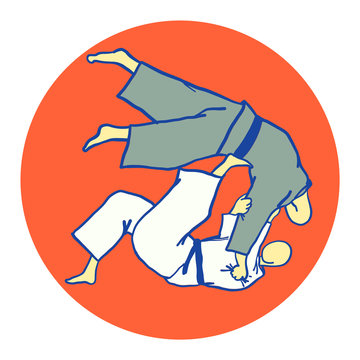 Throwing a foot in the stomach, Japanese judo wrestling tomoe-nage