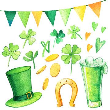 St. Patrick's Day hat coins clover flags mug beer watercolor set