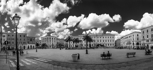 Black and white Panoramic view of Italy Square in the city of Sassari