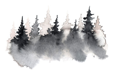 Watercolor hand drawn illustration with Forest. silhouette of a pine forest. Forest background for calligraphic inscription.