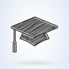 Graduation cap vector icon. line sketch icon isolated background