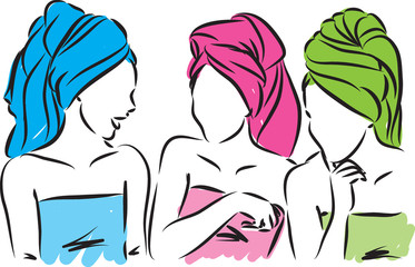 girls with towels vector illustration