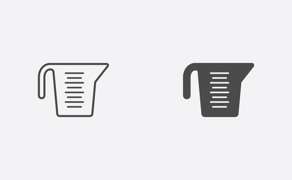 Measuring cup filled and outline vector icon sign symbol
