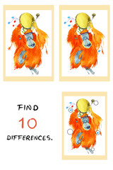 Funny monkey  illustration. Find 10 differences. Watercolor cartoon illustration. Educational game for children