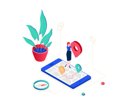 Office location - modern colorful isometric vector illustration