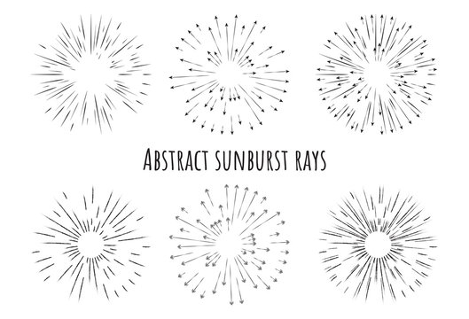 Abstract sunburst rays with arrows different type of drawing